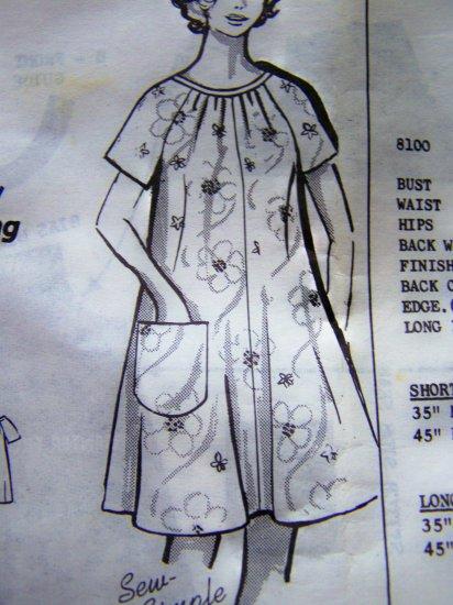 1960s Womens Vintage Dress Caftan Patio Tent Lounger Smock Plus Size B 44 Pattern 8100