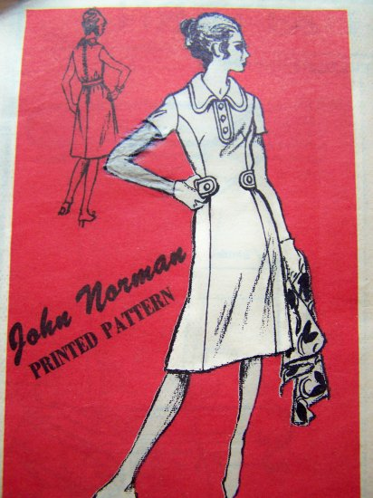 70's Vintage Dress John Norman Prominent Designer Mail Order B 34 Sz 14 Sewing Pattern A 922