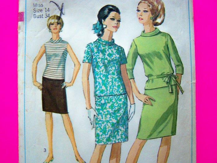 60's Vintage Slim Wiggle Skirt Bias Roll Collar Shirt 2 pc Dress Miss B 34 Sz 14 Sewing Pattern 7164
