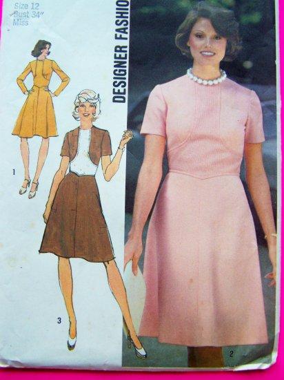 1970's Vintage Designer Flare Skirt Dress Shaped Inset High Round Neckline B 34 Sewing Pattern 6145