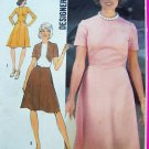 1970's Vintage Designer Flare Skirt Dress Shaped Inset High Round Neckline B 34 Sewing Pattern 6145