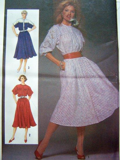 1980's Vintage Sewing Pattern Dress Dolman Sleeves B 32.5 Misses Sz 8 Bias Flared Skirt 6740