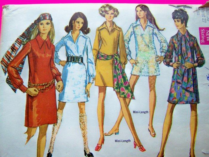 Vintage Dress Mini-Dress Slash Neckline Pointy Collar Hippie Scarf B 36 Sz 14 Sewing Pattern 8333