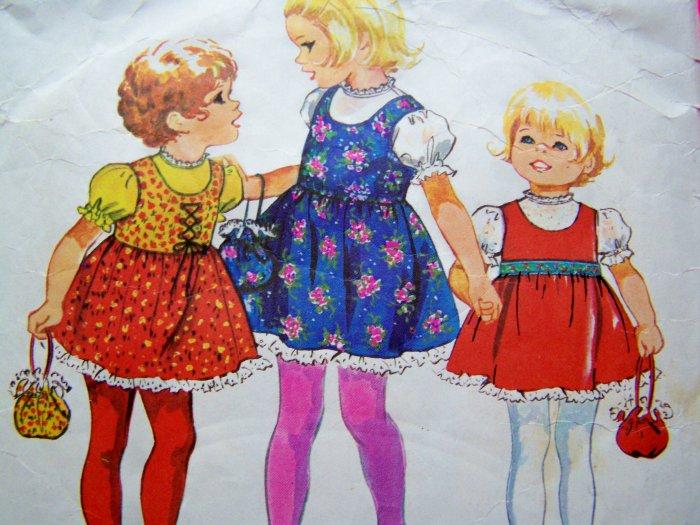 70s Vintage Girls Jumper Dress Lace Sundress Puff Top & Bag Purse Sz 5 6 Sewing Pattern 9684