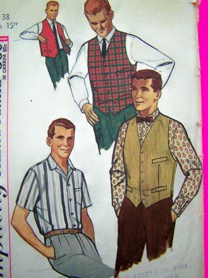 1950's Mens Vintage Dress Shirt Vest & Reversible Vests Sz 38 Neck 15 Sewing Pattern 4160