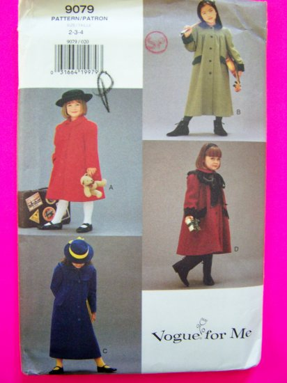 Vogue For Me Toddler Girls A Line Coat Cape 2 3 4 Detachable Capelet Flaps Cuffs Sewing Pattern 9079