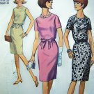 60s Vintage Mod 1 Piece Shirt Dress Blouson Bodice Belt B 34 Sz 14 Sewing Pattern 6458