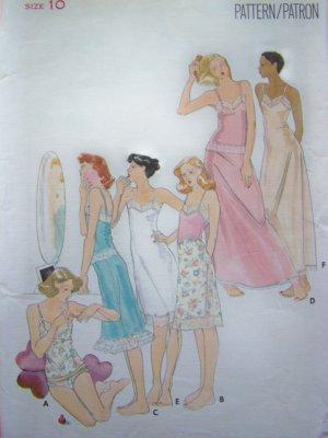 1970s Vintage Full & Half Slip Camisole Bikini Panties Lingerie Sz 10 B 32.5 Sewing Pattern 4331