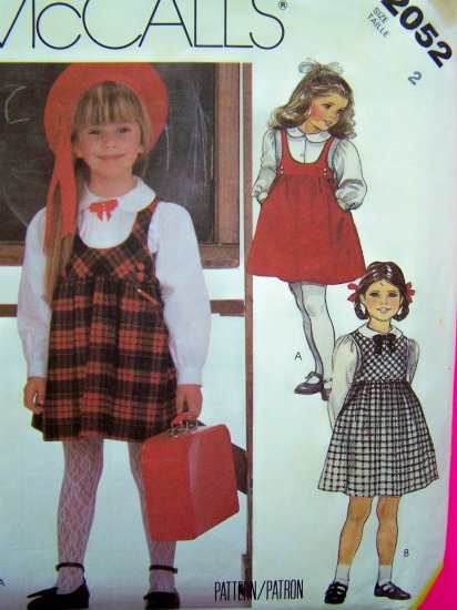 Toddlers Girls 2 T Empire Jumper Dress Sundress Shirt Blouse Vintage Sewing Pattern 2052