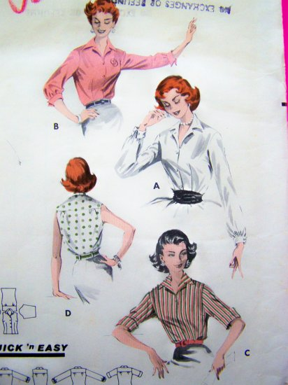 40s Vintage Sewing Pattern B32 Shirt Blouse Rockabilly Top Long 3/4 French Turn Up Cuff Sleeves 8097