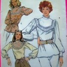 70's Vintage Tunic Top Blouse Lace Yoke & Cuffs Long Sleeve Shirt Sz 10 B 32.5 Sewing Pattern 5570