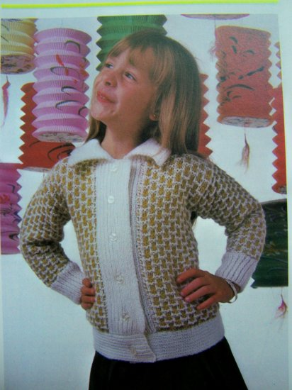 1980's Vintage Knitting Pattern Girls Jacket Basket Stitch Button Up Cardigan Sweater