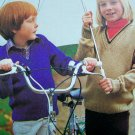 Boy's or Girl's V Necked School Sweater Vintage Knitting Patterns