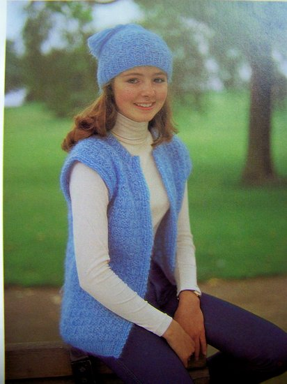 Girl's Knitted Open Front Sweater Vest and Matching Crochet Hat Vintage Knitting Patterns