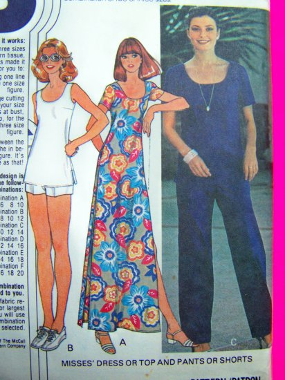 70s Vintage Sewing Pattern Scoop Neck Hem Vents Dress Top Misses 8 10 12 Pants Shorts 6114