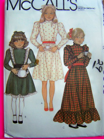 Girls Dress Vintage Sewing Pattern Long Maxi or Short Flared Skirt Ruffled Country Peasant 8348