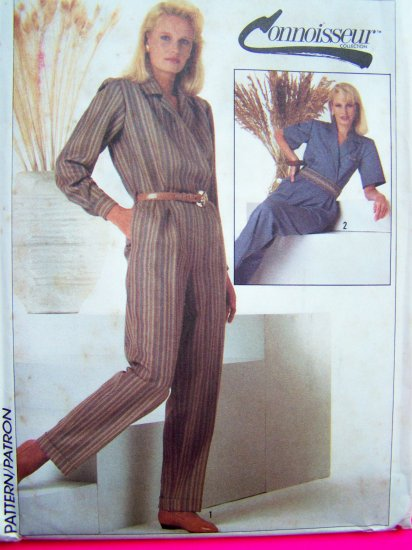 80s Front Wrap Jumpsuit Romper Sz 14 Bust 36 Long or Short Sleeves Vintage Sewing Pattern 7032