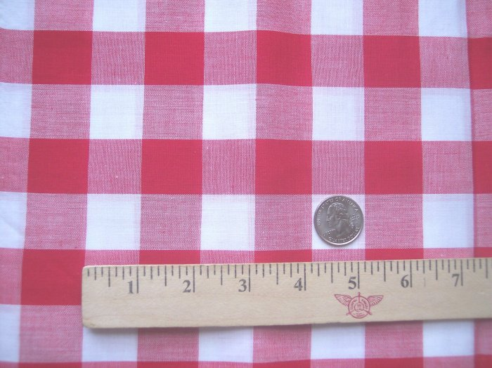 "36"" Vintage Cotton Fabric Red & White Gingham Big Check Sewing Material"