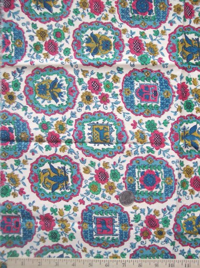 Vintage Cotton Fabric 36 Country Americana Crest Medallion Flower Quilt Material
