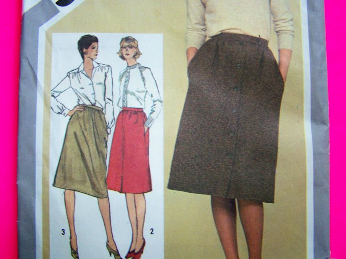 1980s Slim A Line Skirt Sz 14 Uncut Vintage Sewing Pattern 9789