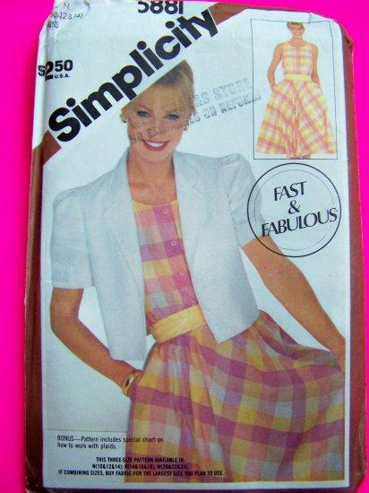 80's Sundress Bias Skirt Dress Bolero Jacket Misses 10 12 14 Fast & Easy Vintage Sewing Pattern 5881