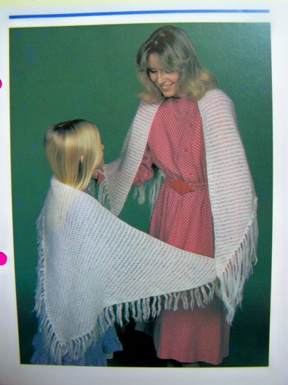 USA 1 Cent S&H Mother and Daughter Lacy Knitted Shawls Wrap Stole Vintage Knitting Patterns