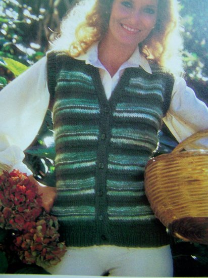 USA 1 C S&H Quick & Easy Womens Casual Sweater Vest Cardigan Bust 34 36 38 Vintage Knitting Pattern