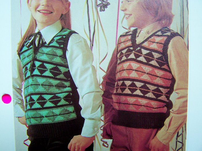 Boys or Girls Jacquard Patterned Pullover Knitted Sweater Vests 1980's Vintage Knitting Patterns