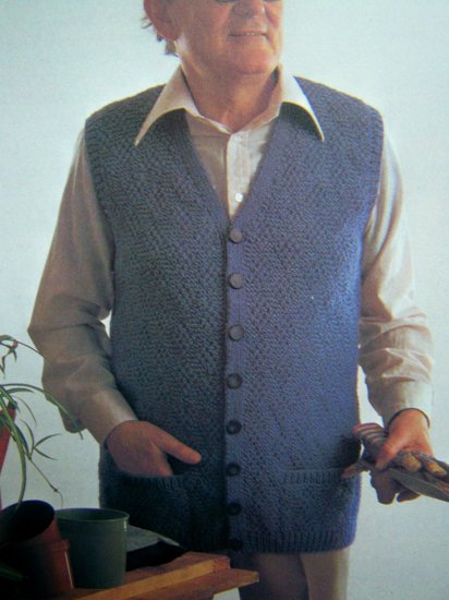 Men's Comfortable Knitted Sweater Cardigan Vest Small Medium Large X Large Vintage Knitting Pattern