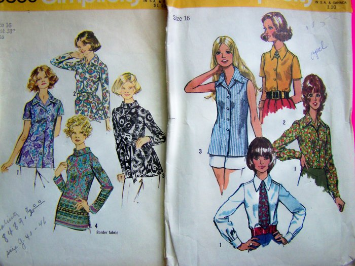 Vintage Lot of 1970's B 38 Shirt Tunic Tops Blouse Vintage Sewing Patterns 5022 & 5359