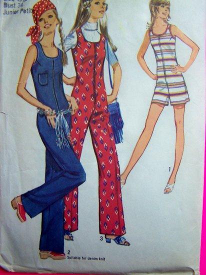 1970's Vintage Hippie Jumpsuit Romper Disco Sunsuit Jrs B 34 Junior Petite Sewing Pattern 9273