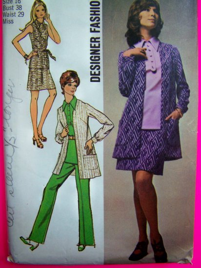 70's Vintage Mini Skirt Tunic Top Shirt Pant Suit Overblouse B 38 Designer Sewing Pattern 8870