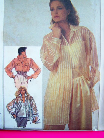 80's Sheer Overblouse Shirt & Camisole Top 10 12 14 Uncut Vintage Sewing Pattern 7176