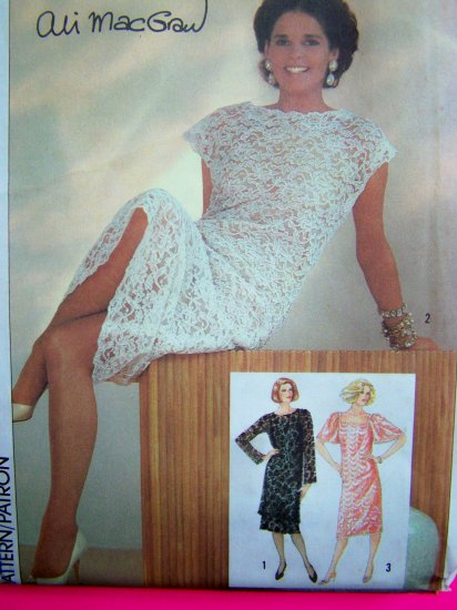 80s Vintage Lace Dress & Slip B 36 Cap Flutter Bell Long Sleeves Lacy Galloon Sewing Pattern 6837