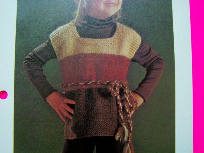 Child's Knitted Tunic Top & Beret Hat Girls Boys Sweater Shirt Vintage Knitting Pattern