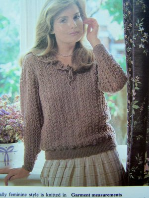 USA 1 Cent S&H Plus Size Womens Light Lacy Knitted Ruffle Collar Sweater Vintage Knitting Pattern