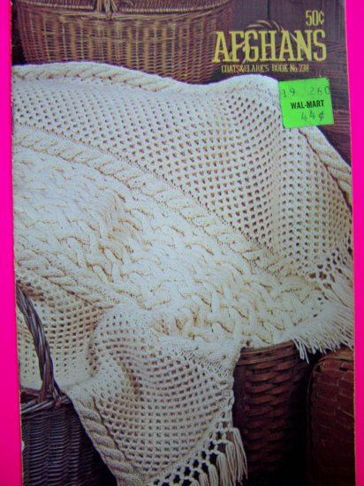 70s Vintage Knitting Book Crocheting Patterns Afghan Granny Lattice Striped Sampler Horseshoe Cable