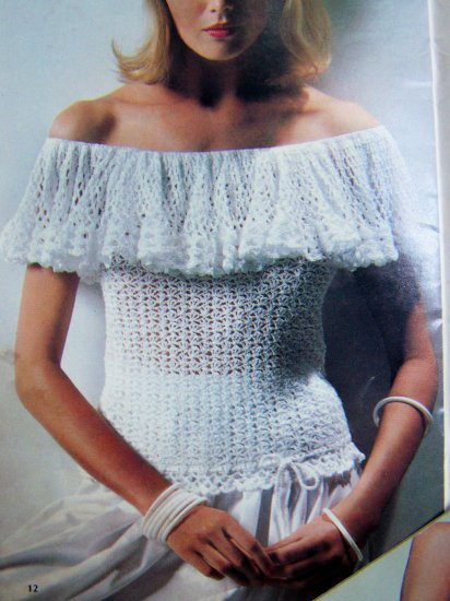 1970s Vintage Knitting Crochet Pattern Book Sweater Peasant Shirt Camisole Tops