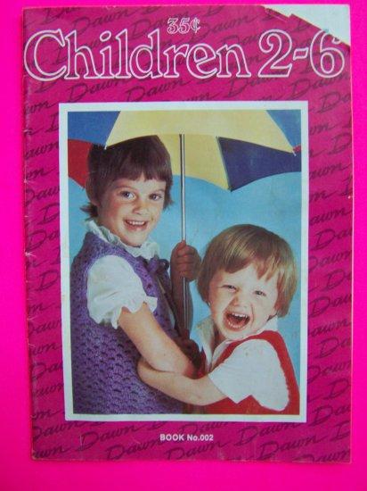 Vintage 60s 70s Childrens Knitting Crochet Pattern booklet Sweaters Romper Girls Dress 2 3 4 6