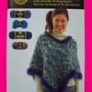 4 Easy Knit & Crochet Patterns Ponchos Child Misses Plus Size