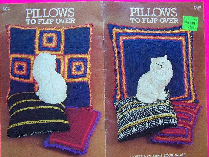 Vintage Crochet Knitting Pillow Patterns Book American Indian Floor Pillow Square