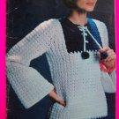 Vintage 70's Hippie Sweaters Crochet Knitting Pattern Book Sailor Aran Tunic Pullover