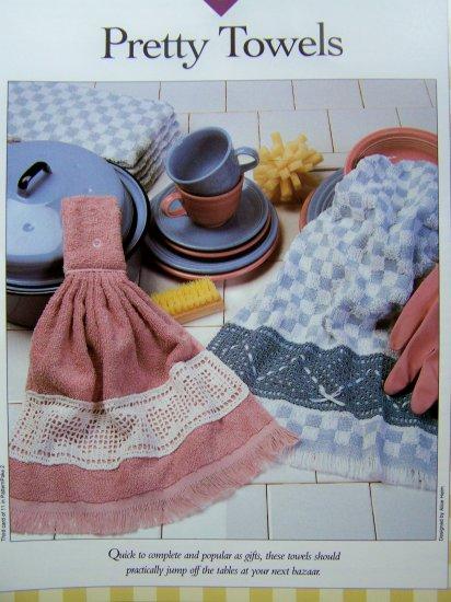Crochet Pattern Pretty Towel Border Filet with Ribbons Vanna WHite Crocheting Patterns