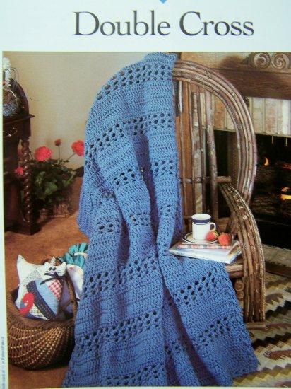 Afghan Crochet Pattern Double Cross Crocheting Blankets Patterns 1 Cent USA S&H