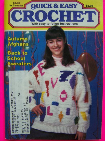 Vintage Crocheting Patterns Easy Sweaters Infant Toddler Romper Dress Afghans Pillows