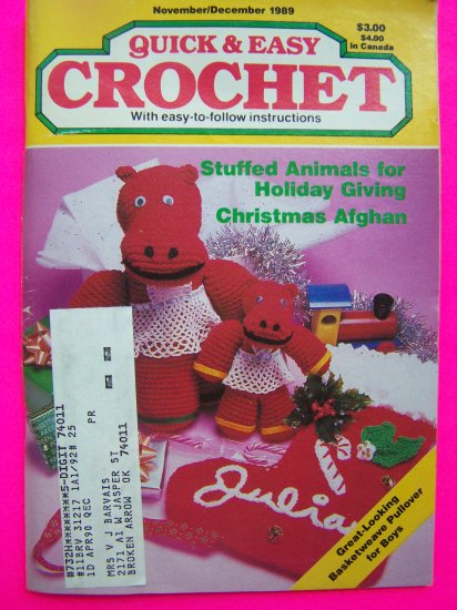Easy Crochet Patterns Book Stuffed Animals Doll Victorian Christmas Afghan Stocking