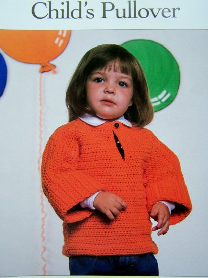 Crochet Pattern Child's Pullover Sweater Toddlers 1 2 3 USA 1 Cent S&H