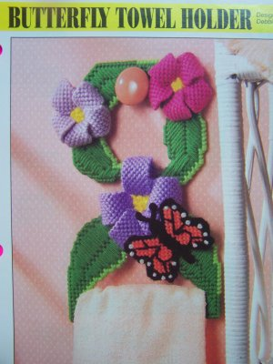 Annie's Plastic Canvas Pattern Butterfly Floral Towel Holder