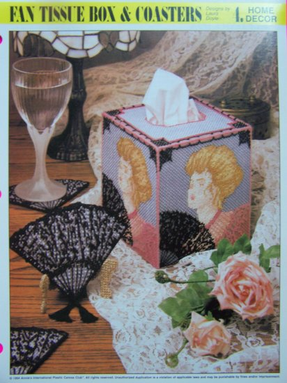 Victorian Fan Tissue Box Cover and Coasters Plastic Canvas Patterns Annie's