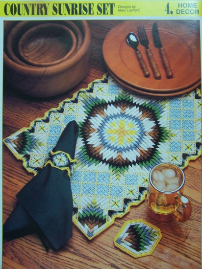Plastic Canvas Pattern Country Sunrise Place Mat Coasters Napkin rings